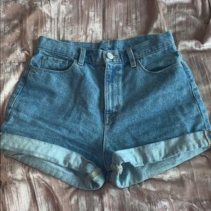 High waisted blue denim shorts worn once.